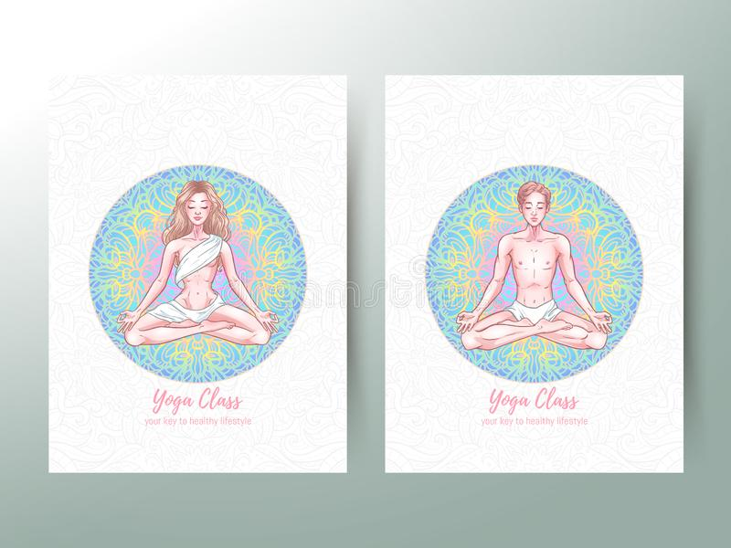Young meditating yogis man and woman in lotus pose, yoga classes advertisement, banner. Vector illustration vector illustration