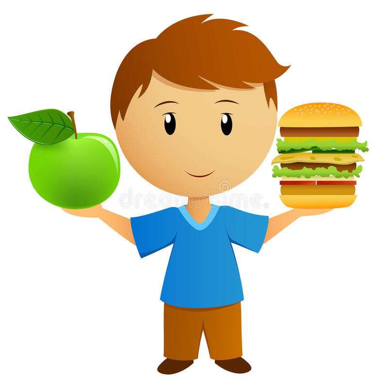 Download Young Men With Apple And Hamburger Royalty Free Stock Photos - Image: 23636228