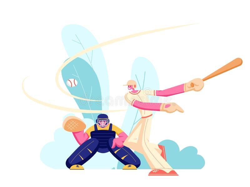 Young Men Athlete Characters in Uniform Playing Baseball at Championship Competition. Batter Hitter Hitting Ball and Catcher. Prepare to Get it. Sport Players stock illustration