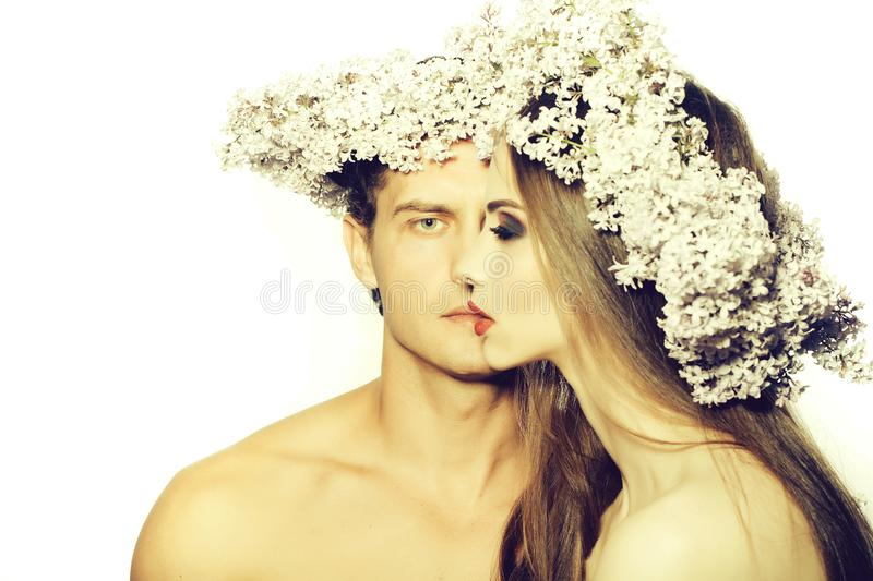 Young man and beautiful woman stock image