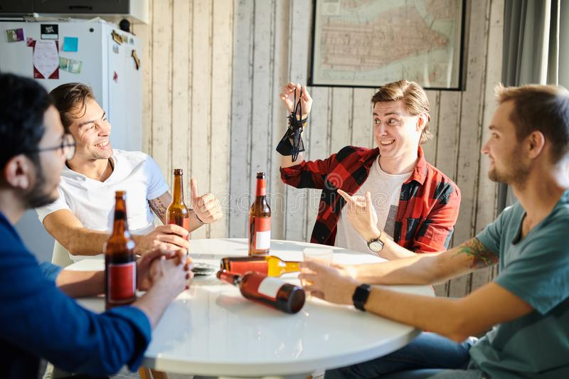Male party at home royalty free stock photography