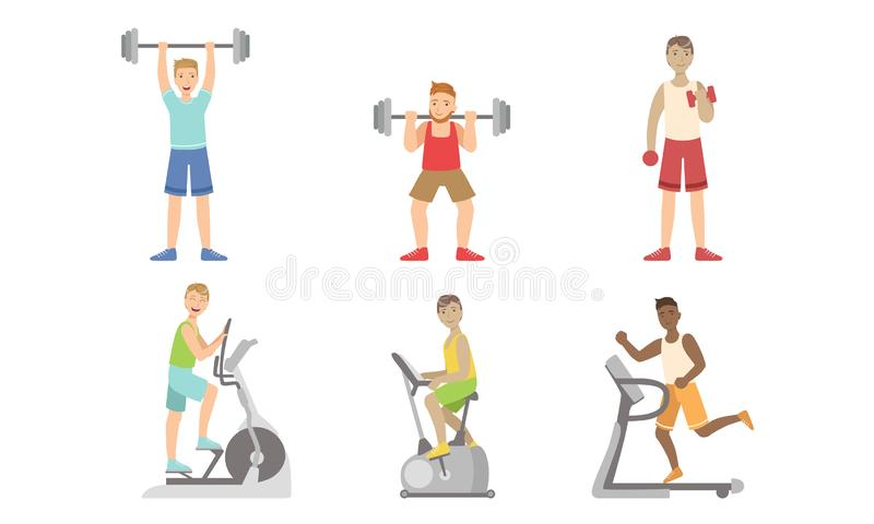 Young Men Doing Fitness Exercises in Gym Set, Guys Training with Treadmill, Exercise Bike, Dumbbells and Barbell Vector. Illustration on White Background stock illustration