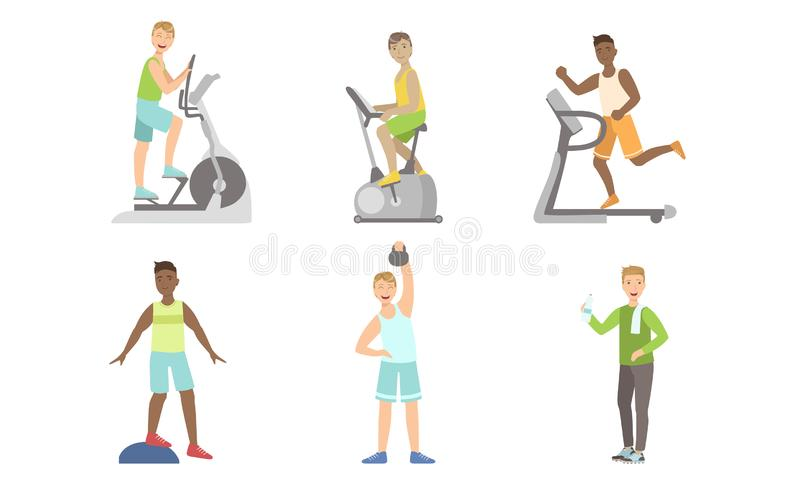 Young Men Doing Fitness Exercises in Gym Set, Guys Training with Treadmill, Exercise Bike, Platform Vector Illustration. On White Background vector illustration
