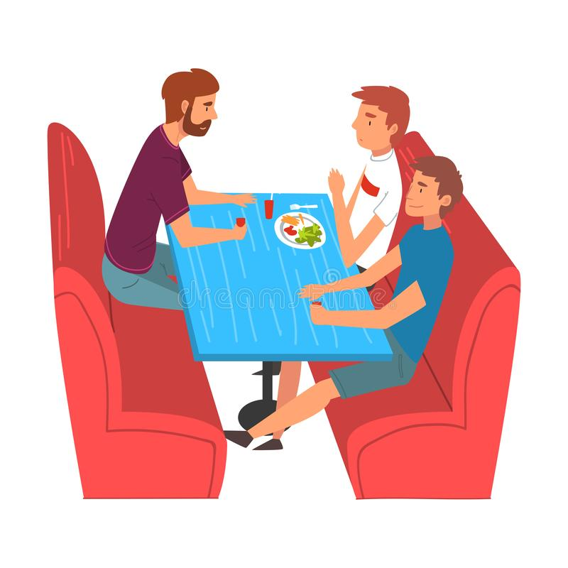Young Men Eating and Talking Burgers in Food Court in Shopping Mall Vector Illustration. On White Background stock illustration
