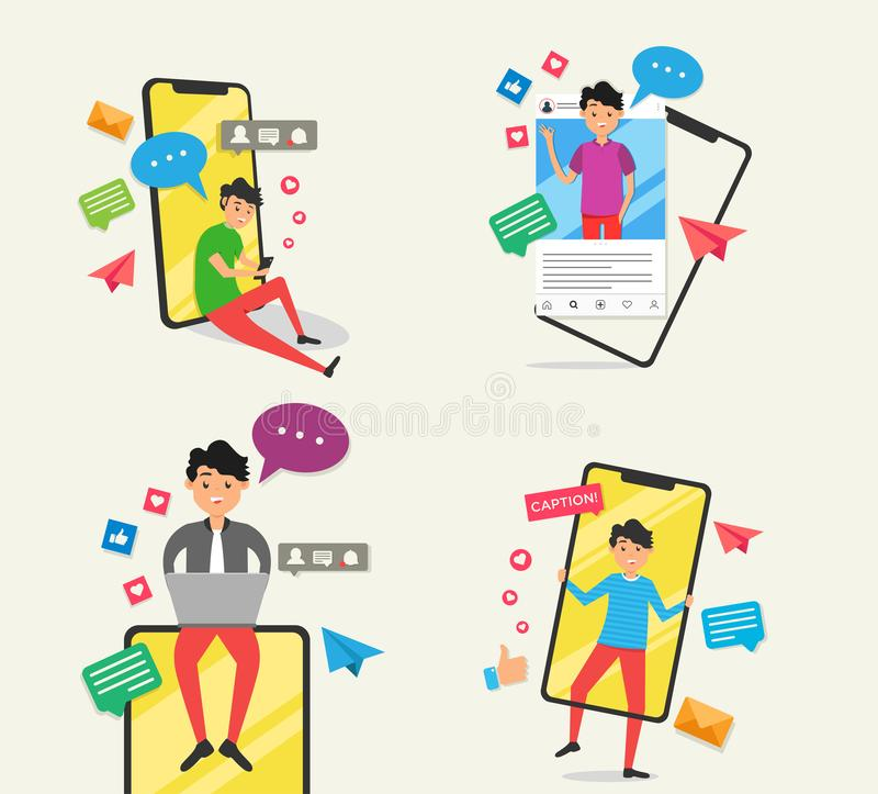 Young men fashion with social media activity. Modern flat avatar stock illustration