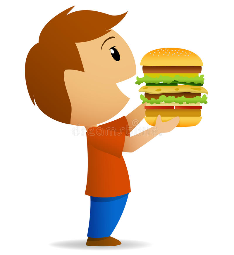 Download Young Men Going To Eat Hamburger Stock Vector - Illustration of blue, white: 23636221