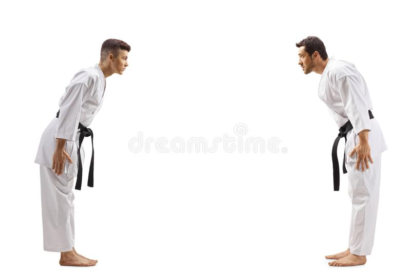 Young men in karate kimonos bowing to eachother stock photo