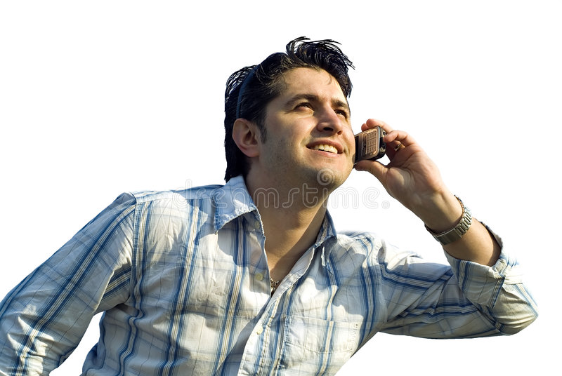 Young men on the phone stock image
