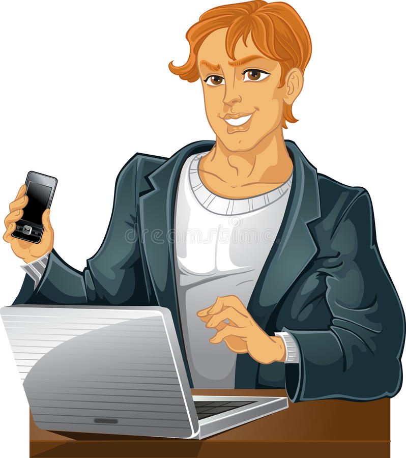 Young men with phone and laptop stock image