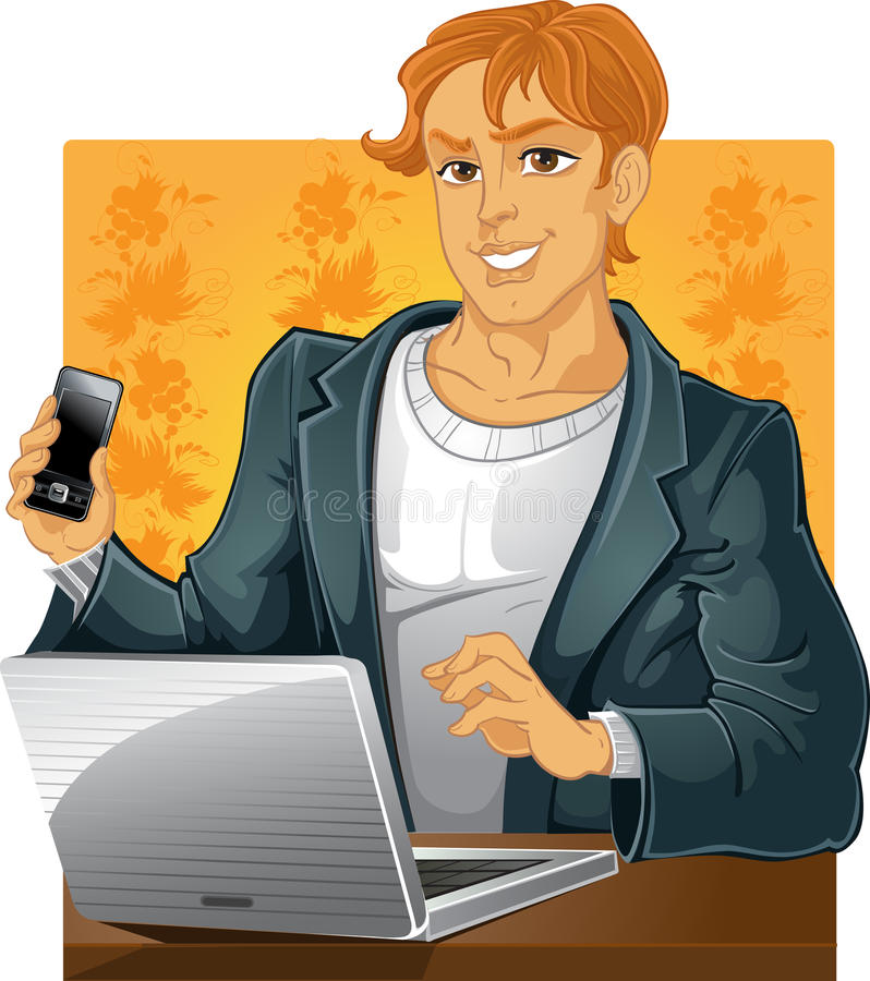 Young men with phone and laptop on yellow backgrou stock photos