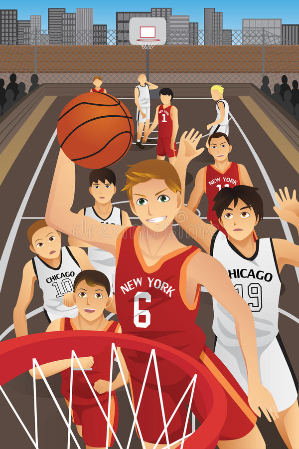 Young men playing basketball. A vector illustration of young men playing basketball in the inner city stock illustration