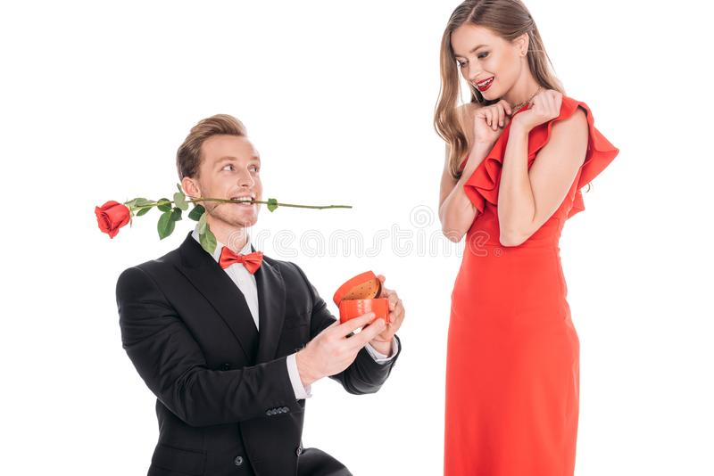 Man proposing to woman. Young men with rose flower in teeth proposing to women isolated on white royalty free stock photos