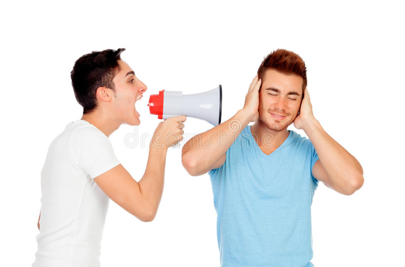 Download Young Men Screams To His Friend Through A Megaphone Stock Image - Image: 33682283