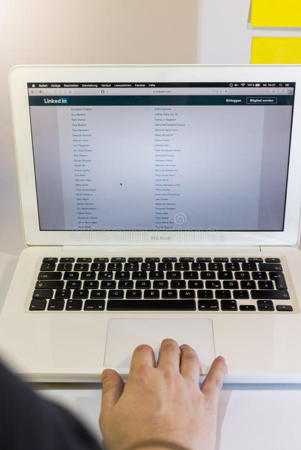 Linkedin search on Computer royalty free stock images