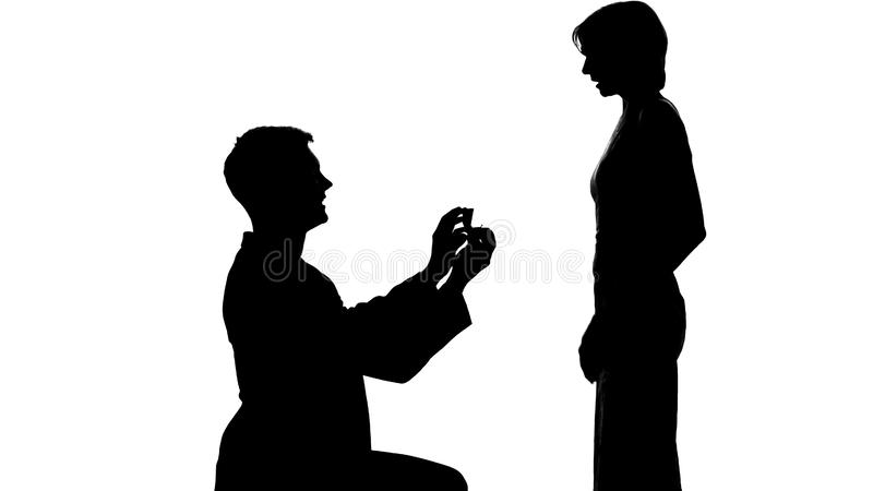 Young man shadow making proposal to lady, marriage offer, romantic relations vector illustration