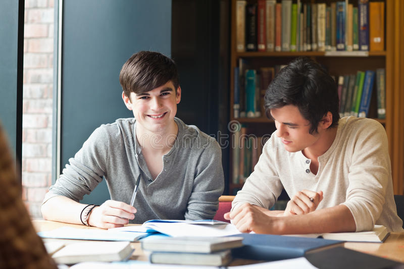 Download Young men studying stock image. Image of exam, library - 21145603