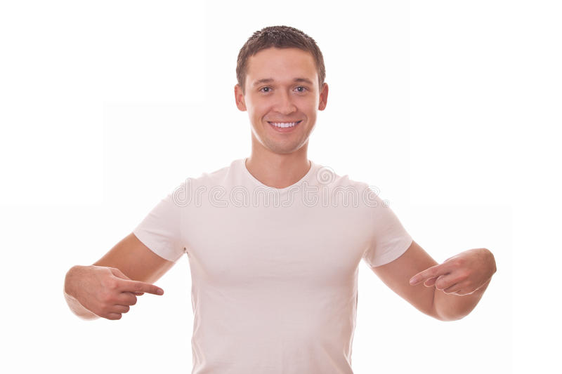 Download Young Men In T-shirt Shows On Itself Stock Image - Image of friendly, cute: 27925147