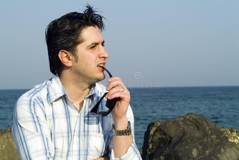 Young men thinking stock photos