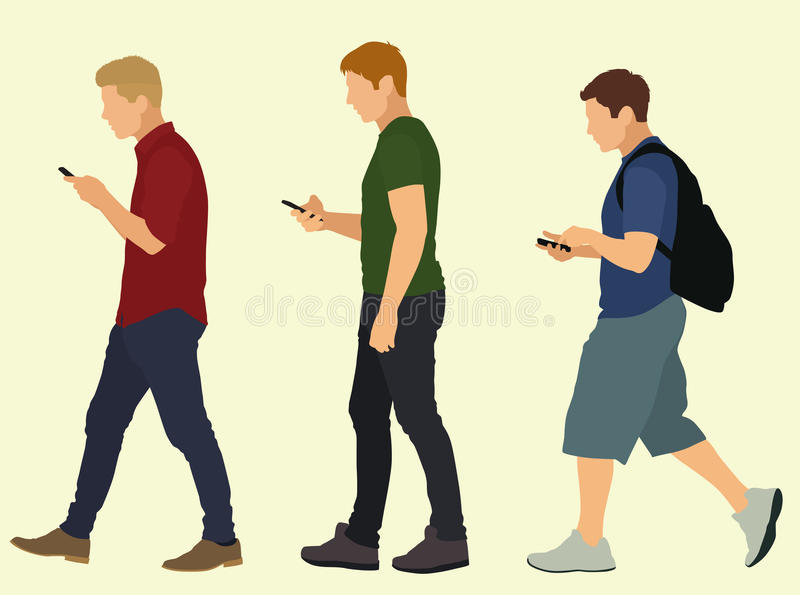 Young Men Walking and Texting. Young Men walking in a line as they use their cell mobile phones to text vector illustration