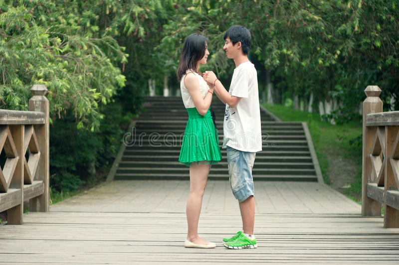 Download Young Men And Women Face To Face On The Bridge Stock Photo - Image of dress, health: 25884904