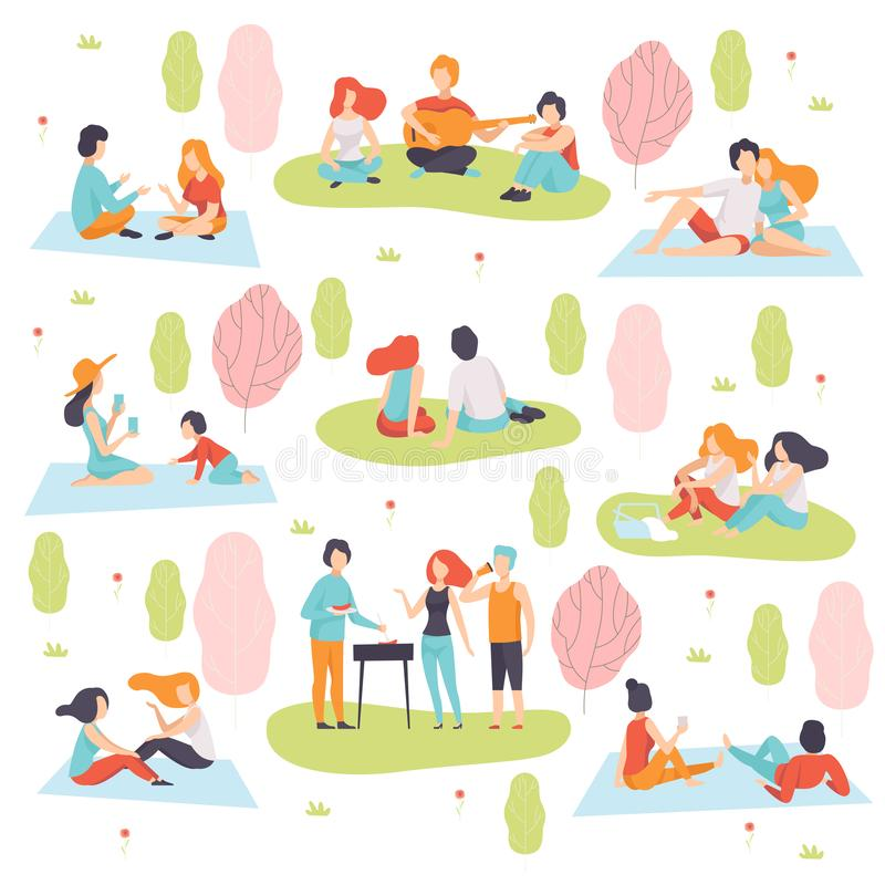 Young Men and Women Having Picnic and Cooking Meat on Barbecue Grill Set, People Relaxing on Nature Vector Illustration. On White Background vector illustration