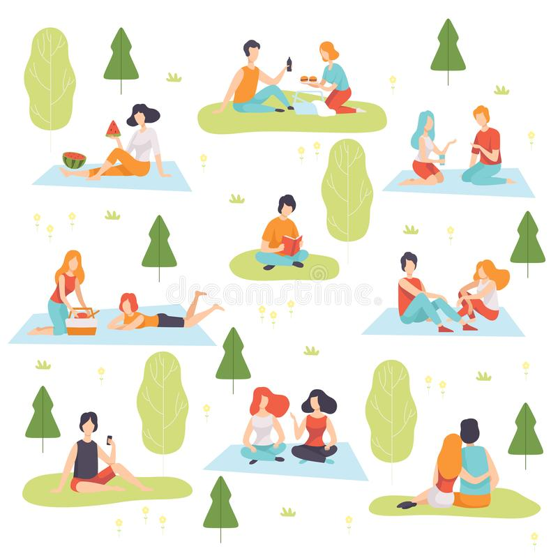 Young Men and Women Having Picnic Set, People Relaxing on Nature Vector Illustration. On White Background stock illustration