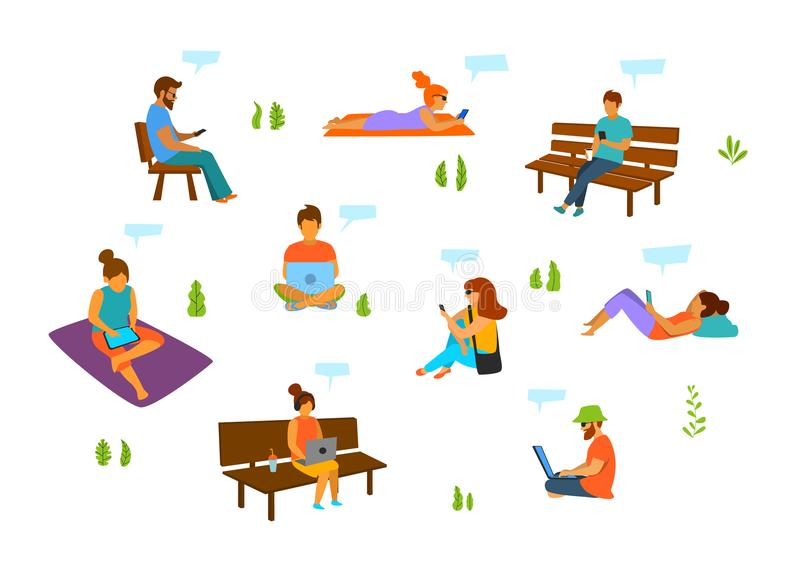 Young men and women with mobile phones laptops tablets working chatting texting in the city park. Isolated vector illustration set stock illustration