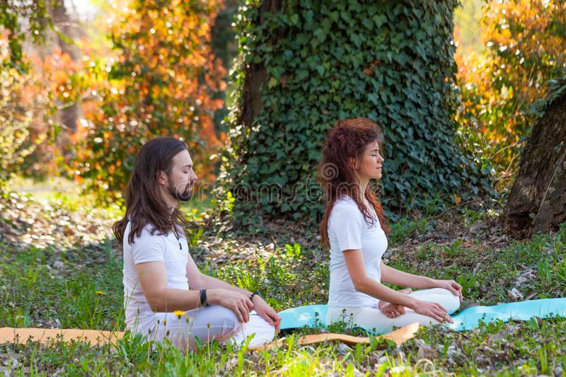 Young man and woman practice yoga meditation in nature  side view full body shot in wood stock images
