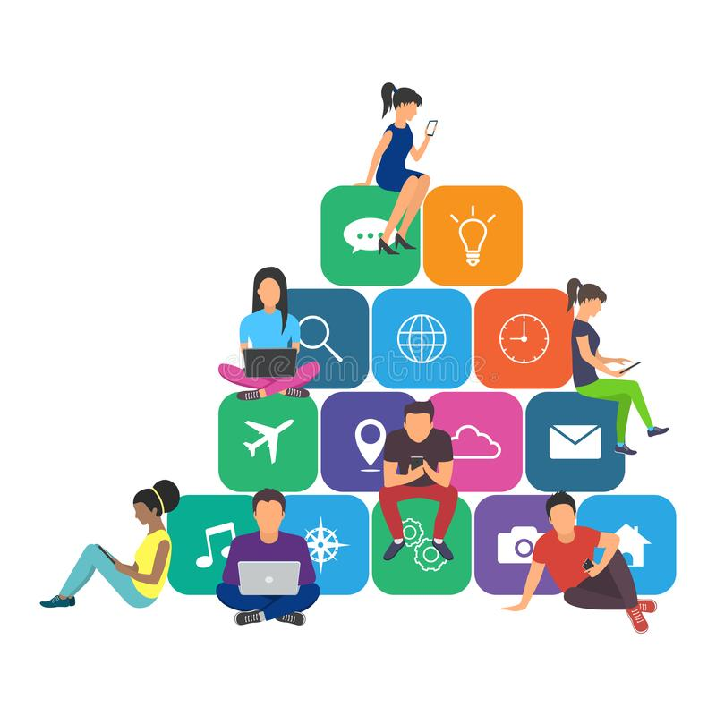 Young men and women sitting on mobile app icons. And using smartphone and laptop for reading news and texting message to friends. Flat design royalty free illustration
