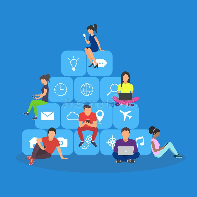 Young men and women sitting on mobile app icons. And using smartphone and laptop for reading news and texting message to friends. Flat design stock illustration