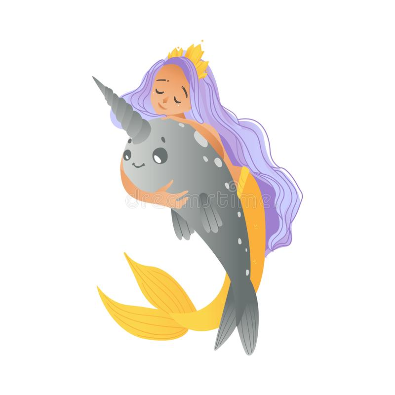 A young mermaid, a girl with purple hair, a crown sits astride a cute narwhal in a cartoon style. royalty free illustration