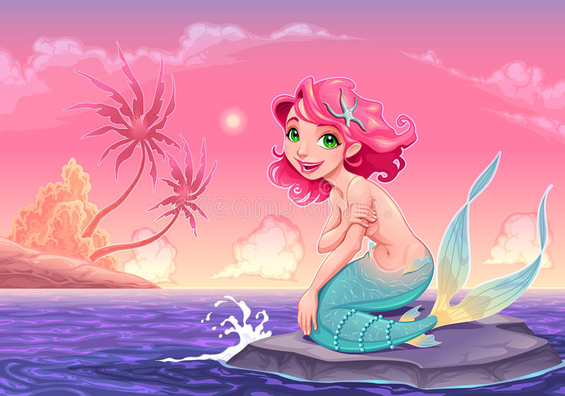 Young mermaid near the shore stock image