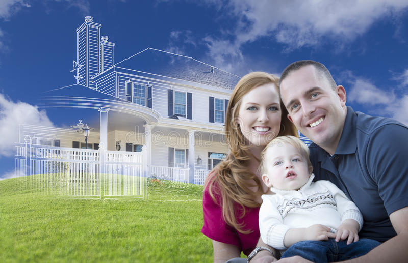 Young Military Family with Ghosted House Drawing Behind. Young Military Family with Ghosted House Drawing, Partial Photo and Rolling Green Hills Behind stock photo