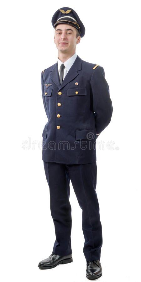 Young military french pilot officer. Isolated on white background royalty free stock photos