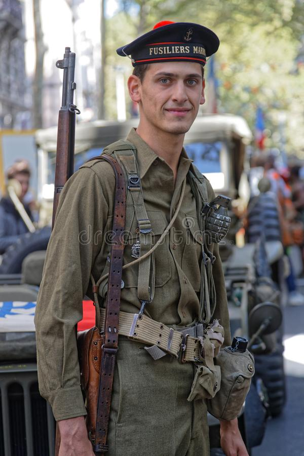 Young military man in the streets of Lyon stock photo