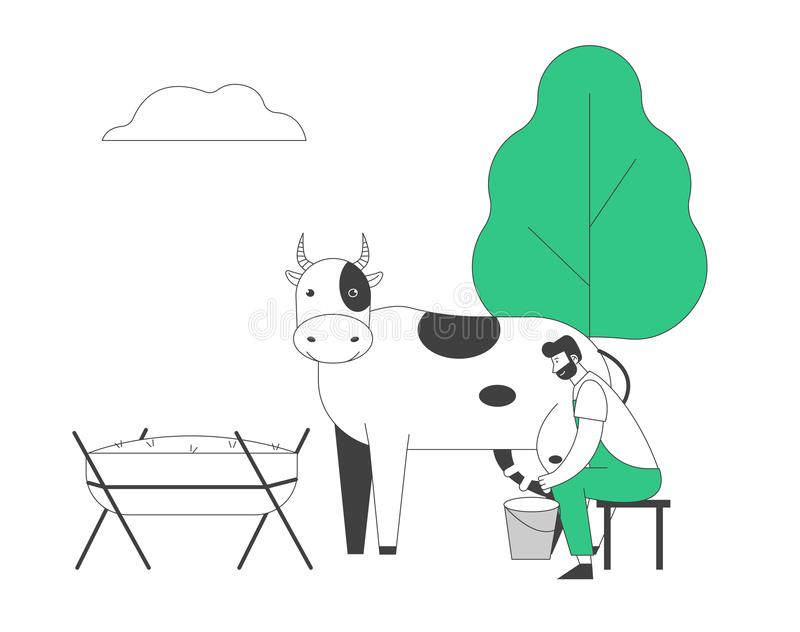 Young Milkmaid Man in Uniform Sitting on Stool Milking Cow to Bucket. Milk and Dairy Farmer Agriculture Products royalty free illustration