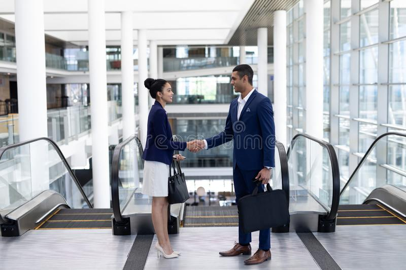 Young mixed-race business people shaking hand in modern office royalty free stock image