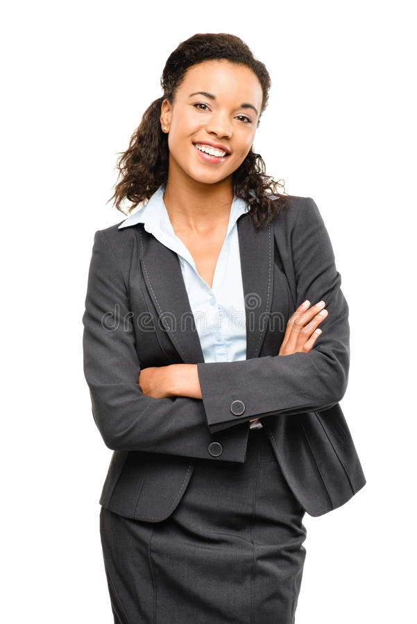 Young mixed race businesswoman with arms folded smiling isolated. Young mixed race businesswoman with arms folded smiling stock photos