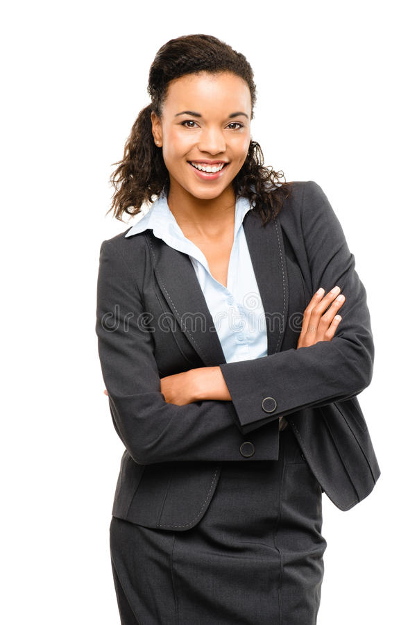 Young mixed race businesswoman with arms folded smiling isolated. Young mixed race businesswoman with arms folded smiling royalty free stock photos