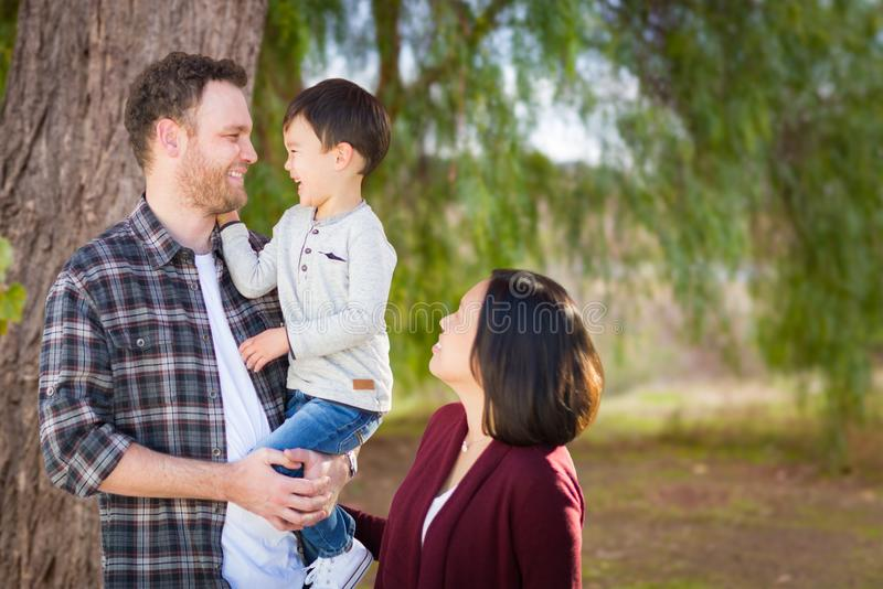 Young Mixed Race Caucasian and Chinese Family Portrait Outdoors royalty free stock photos