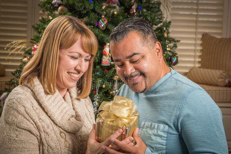 Young Mixed Race Couple with Present Near Christmas Tree. Happy Young Mixed Race Couple with Present Near Christmas Tree stock photography