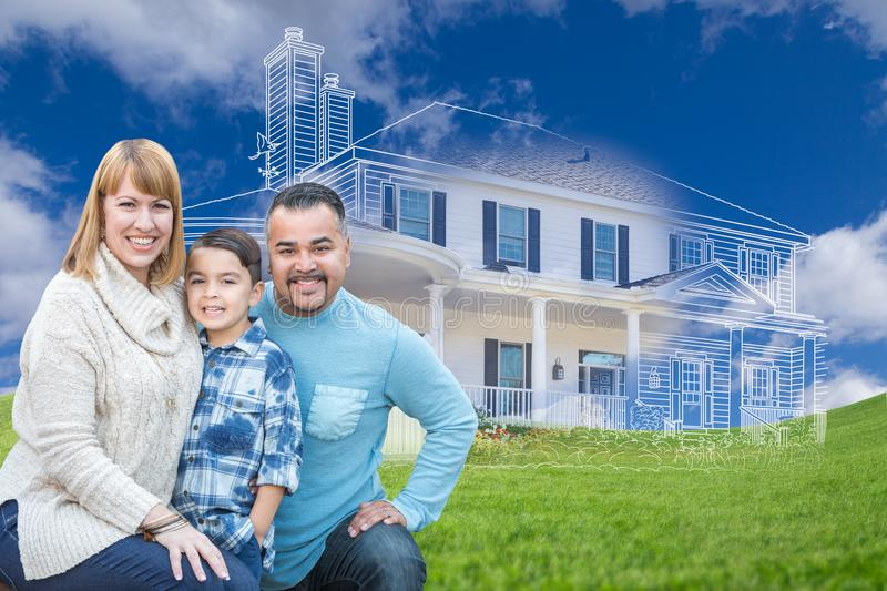 Young Mixed Race Family and Ghosted House Drawing on Grass. Young Happy Mixed Race Family and Ghosted House Drawing on Grass stock images