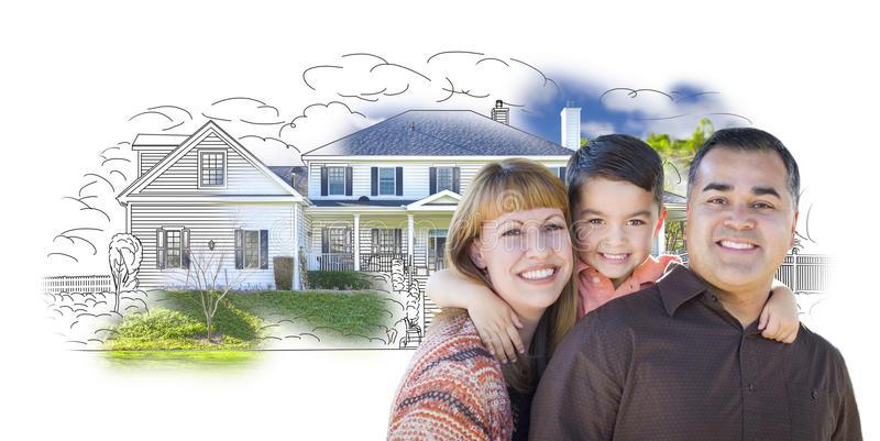 Young Mixed Race Family and Ghosted House Drawing. Young Happy Mixed Race Family and Ghosted House Drawing on White royalty free stock photography