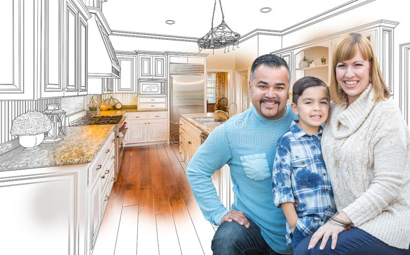Young Mixed Race Family Over Kitchen Drawing with Photo Combination. Happy Young Mixed Race Family Over Kitchen Drawing with Photo Combination royalty free stock photo