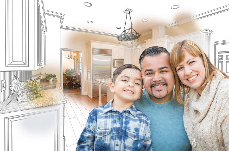 Young Mixed Race Family Over Kitchen Drawing with Photo Combination. Young Mixed Race Family Over a Kitchen Drawing with Photo Combination royalty free stock photo