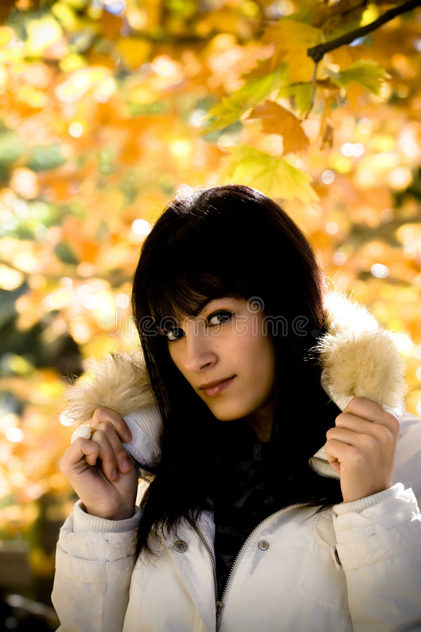 Download Young Model In Leaves Background Stock Image - Image: 4088325