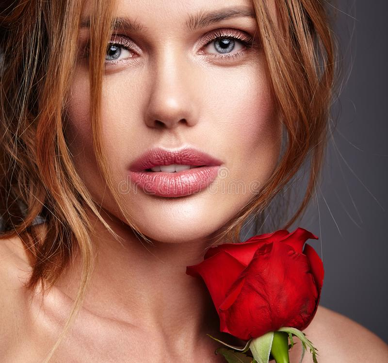 Young model with natural makeup and perfect skin royalty free stock image