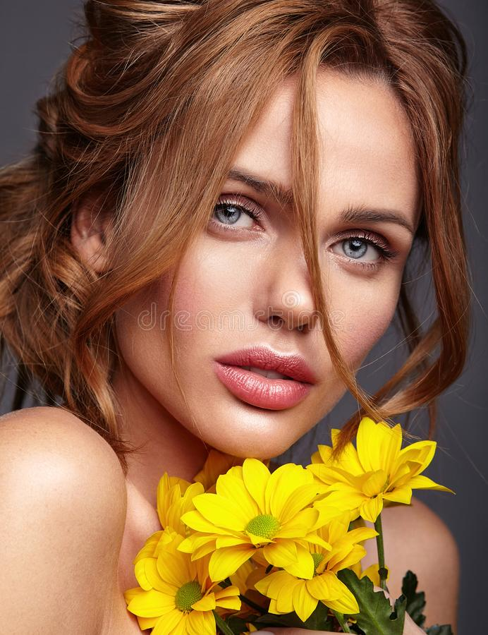 Young model with natural makeup and perfect skin stock photo
