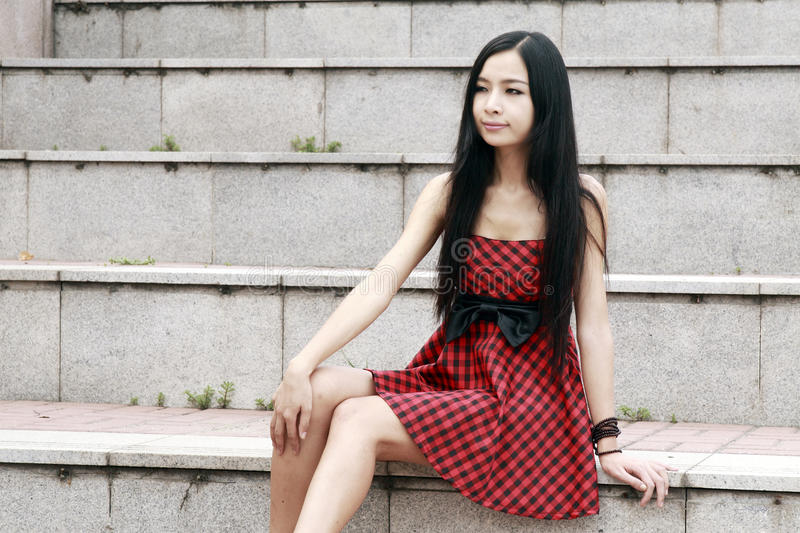 Download Young Model Sitting On Stairs Stock Image - Image: 10369445