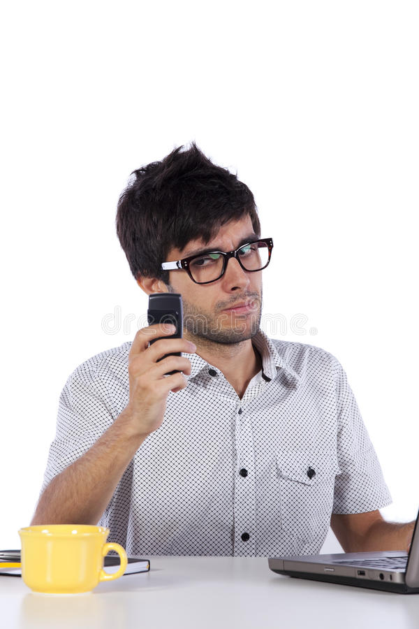 Young modern busy businessman stock photo